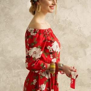 Kasia Miciak design sukienki sukienka czerwona w kwiaty