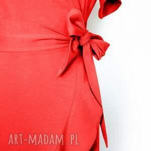 sukienki dzienna czerwona sukienka kopertowa