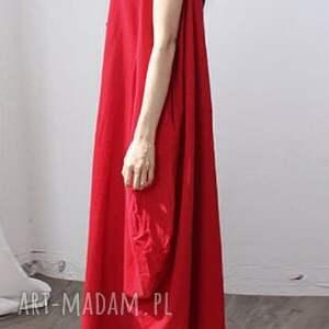 niebanalne sukienki sukienka czerwona oversize