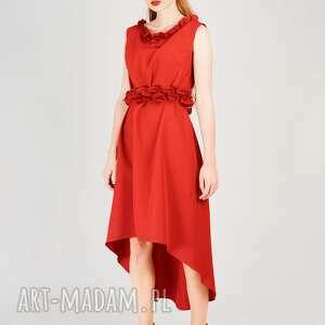 sukienki kobieca czerwona sukienka ze zdobieniem