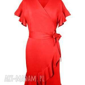 awangardowe sukienki kopertowa czerwona sukienka