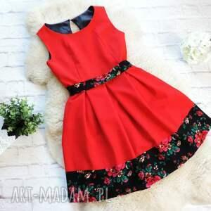 sukienka sukienki czerwone czerwona z szarfą folk