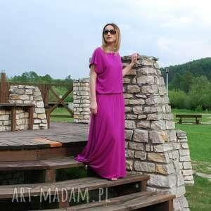 fioletowe sukienki sukienka długa dzianinowa