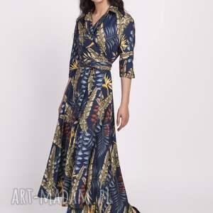 sukienki sukienka długa, suk171 liście