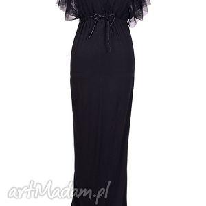 sukienki czarna długa sukienka z tiulową górą