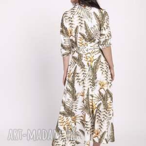 sukienki kimono długa sukienka, suk171 liście