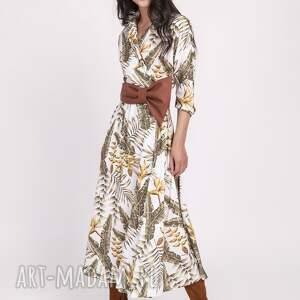 sukienki maxi długa sukienka, suk171 liście