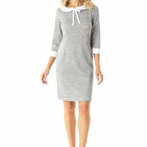 f4dd1de5c7 sukienki - dopasowana sukienka z kołnierzykiem flora szara