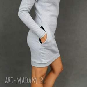ręcznie wykonane sukienki sukienka dresówka komin