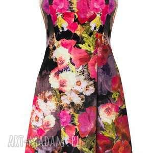 sukienki sukienka 32 - dzianinowa w kwiatki