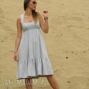 LaLu sukienki Dzianinowa sukienka z falbaną, midi