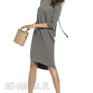 sukienki: Elegancka sukienka wiązana z dekoltem na plecach, T298, szara