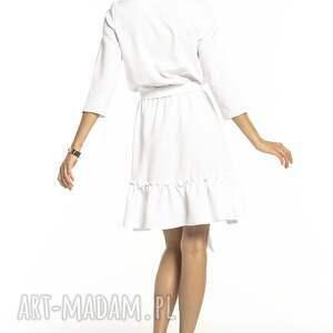Elegancka sukienka z falbaną ściągnięta w pasie, T285, biała elgancka