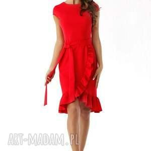 niebanalne sukienki elegancka-sukienka elegancka sukienka falbaną czerwona