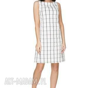 sukienki: Elegancka sukienka taliowana w kratę, T282 - krata