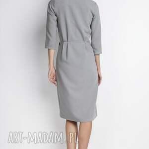 sukienki minimalizm elegancka sukienka, suk131 szary