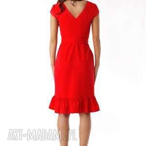 sukienki sylwestrowa-sukienka elegancka sukienka falbaną czerwona