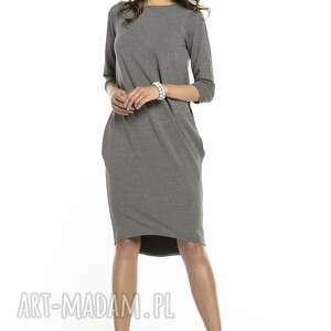 sukienki: Elegancka sukienka wiązana z dekoltem na plecach, T298, szara tuba