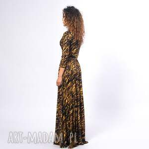 czarne sukienki zeberka elle - gold zebra