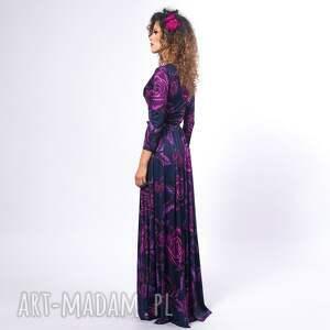 ręcznie robione sukienki długa elle - magic rose