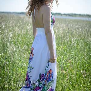 suknia sukienki felicja - biała w kwiaty