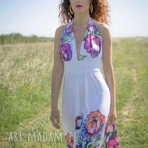 sukienki suknia felicja - biała w kwiaty