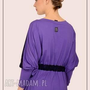 szeroka sukienki fioletowo granatowa sukienka kimono