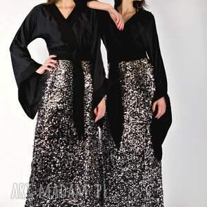 MYOKO czarne sukienki sukienka balowa glow - jedwabna z cekinami