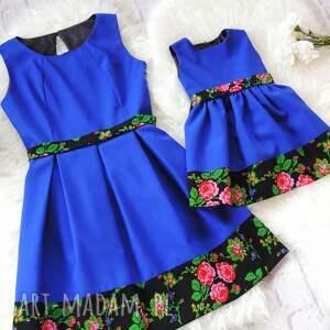 sukienka sukienki niebieskie góralska dla mamy i córki