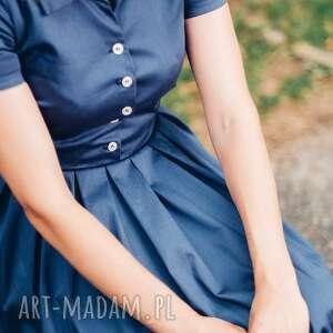 ręczne wykonanie sukienki sukienka granatowa midi