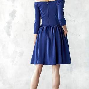 Kasia Miciak design sukienki midi granatowa sukienka hiszpanka