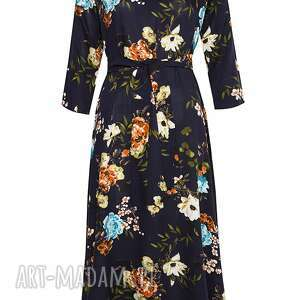 sukienki midi granatowa sukienka w kwiaty