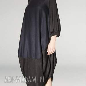 sukienki marszczony granatowo czarna sukienka oversize