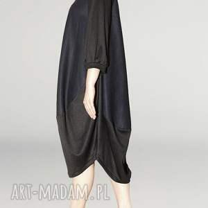 rekaw sukienki granatowo czarna sukienka oversize