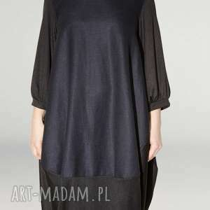 sukienki rekaw granatowo czarna sukienka oversize