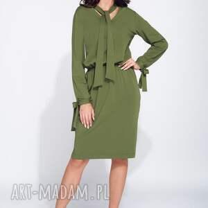 awangardowe sukienki dzienna sukienka na jesień z wiązaniami