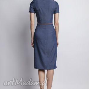 sukienki prosta jeansowa sukienka z krótkim rękawem
