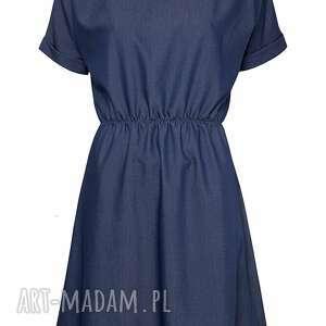 sukienki rozkloszowana jeansowa sukienka na gumie