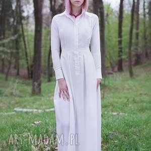 koszulowa sukienki jedwabna biała
