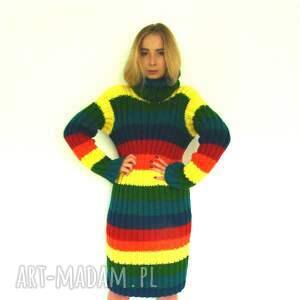 ciekawe sukienki ciepła kolorowa sukienka