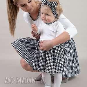 dzianina sukienki komplet sukienek w pepitke dla mamy