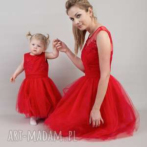 sukienki: Komplet sukienek Anastazja 36 i 104/110 - koronka dlamamyicórki