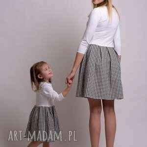 trendy sukienki dzianina komplet sukienek w pepitke dla mamy