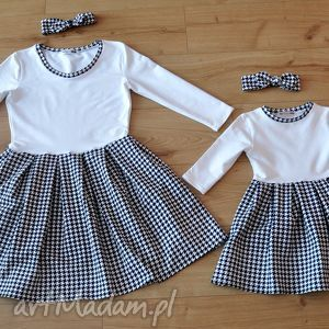 trendy sukienki pepitka komplet sukienek w pepitke dla mamy