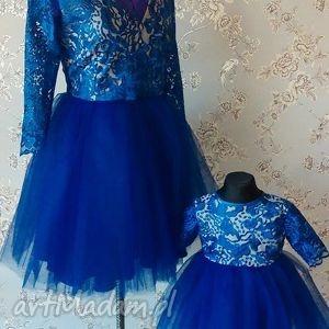 niebieskie sukienki komplet tiulowych sukienek dla mamy