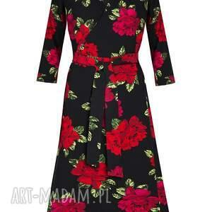 czerwone sukienki sukienka kopertowa w róże