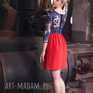 czerwone sukienki sukienka koralowa z koronką