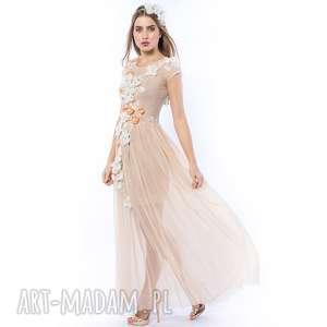 beżowe sukienki ślubna królowa bajka - ręcznie haftowana