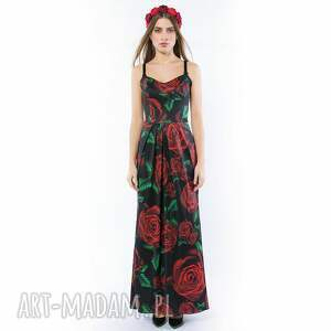 maxi sukienki królowa róża / black - suknia