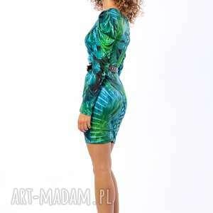 turkusowe sukienki bufki krystle - sukienka z bufkami